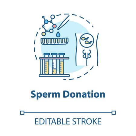 Sperm donation concept icon. In vitro fertilization. Fertility clinic. Male donor. Reproductive technology idea thin line illustration. Vector isolated outline RGB color drawing. Editable stroke Çizim