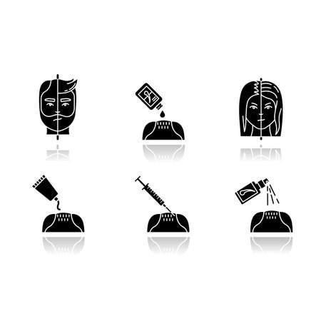 Hair loss drop shadow black glyph icons set. Male alopecia. Female balding. Haircare, dermatology treatment. Products for hairloss. Injection for regrowth. Isolated vector illustrations on white space
