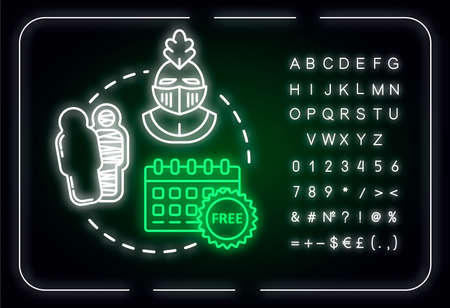 Free museum days neon light concept icon. Admission discounts, inexpensive guided tours idea. Outer glowing sign with alphabet, numbers and symbols. Vector isolated RGB color illustration