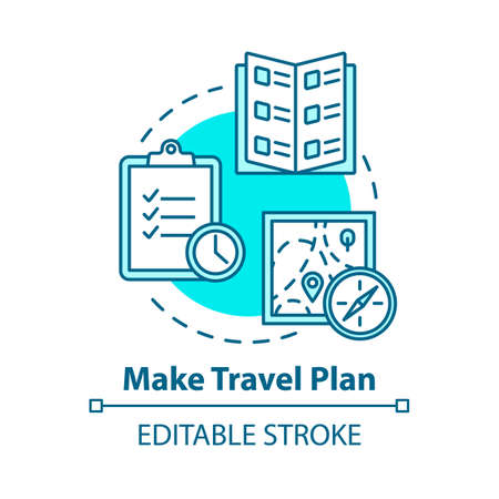 Make travel plan concept icon. Organized tour, vacation organization idea thin line illustration. Unexpected expenses prevention. Vector isolated outline RGB color drawing. Editable stroke Ilustração