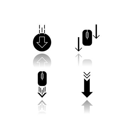 Computer mouse and arrowheads drop shadow black glyph icons set. Scrolling down and uploading indicators. Arrows interface navigational buttons. Isolated vector illustrations on white space