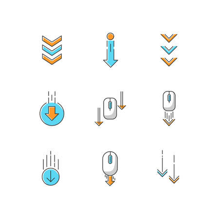 Scrolling down arrows RGB color icons set. Computer mouse and arrowheads in circles buttons. Internet page browsing and download indicators. Web cursor. PC elements. Isolated vector illustrations Çizim