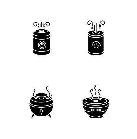 Air humidifiers, oil diffusers black glyph icons set on white space. Minimalistic air purifiers, climate control appliances, humidity regulators. Silhouette symbols. Vector isolated illustration