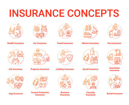 Insurance concept icons set. Protection from financial loss. Life policy plan. Risk management idea thin line RGB color illustrations. Vector isolated outline drawings. Editable stroke 스톡 콘텐츠 - 140754974
