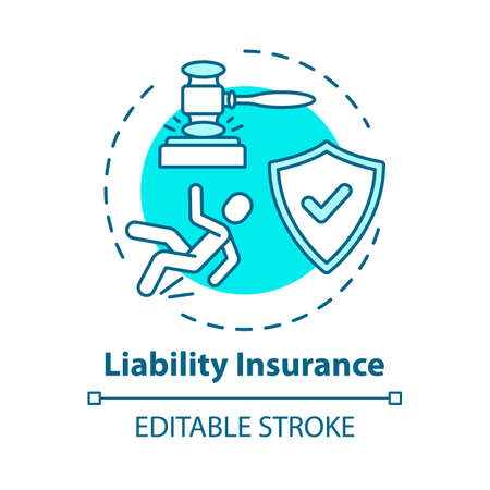 Liability insurance concept icon. Legal claim for accident damage. Lawsuit for incident. Compensation idea thin line illustration. Vector isolated outline RGB color drawing. Editable stroke Ilustração