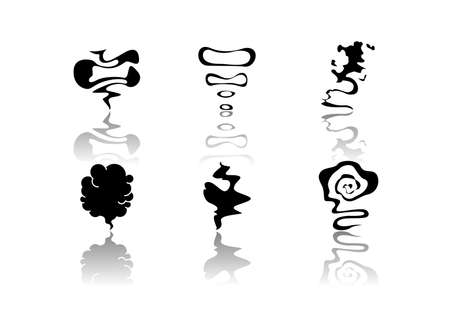 Odor drop shadow black glyph icons set. Smell from hookah. Aroma from cannabis. Cigarette stream. Bad scent. Hot mist. Incense, stench. Isolated vector illustrations on white space