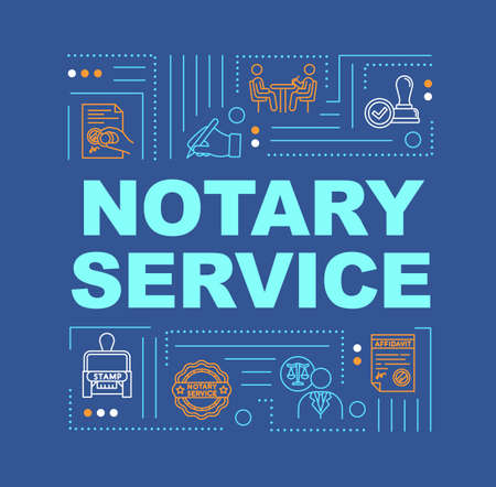 Notary service word concepts banner. Common law. Stamp to seal deal. Testament in court. Infographics with linear icons on blue background. Isolated typography. Vector outline RGB color illustration 스톡 콘텐츠 - 140749153