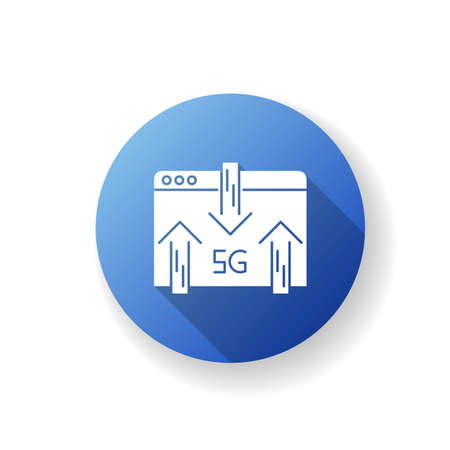 5G web browser blue flat design long shadow glyph icon. Internet browsing. Wireless technology. Fast connection. Data transmission, exchange. Silhouette RGB color illustration