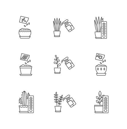 Houseplant care pixel perfect linear icons set. Spraying. Planting seeds. Air temperature conditions. Customizable thin line contour symbols. Isolated vector outline illustrations. Editable stroke