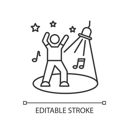 Discotheque pixel perfect linear icon. Thin line customizable illustration. Night club recreation contour symbol. Young clubber on dance floor vector isolated outline drawing. Editable stroke