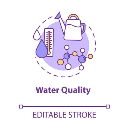 Water quality concept icon. Rainwater or melted snow. Home gardening. Watering houseplants idea thin line illustration. Vector isolated outline RGB color drawing. Editable stroke