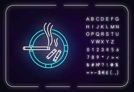 Ashtray neon light icon. Outer glowing effect. Sign with alphabet, numbers and symbols. Smoking addiction, dangerous habit, unhealthy lifestyle. Ash tray vector isolated RGB color illustration