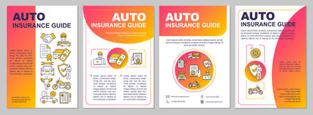 Auto insurance guide brochure template. Expense from collision. Flyer, booklet, leaflet print, cover design with linear icons. Vector layouts for magazines, annual reports, advertising posters Ilustrace