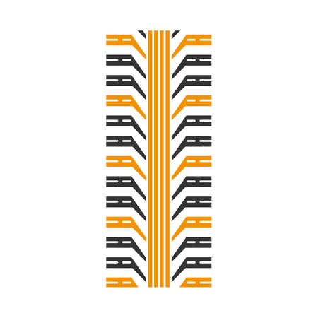 Tire tread black and yellow RGB color icon. Detailed automobile, motorcycle tyre marks. Car wheel trace with thick grooves. Vehicle tire trail. Isolated vector illustration on white background