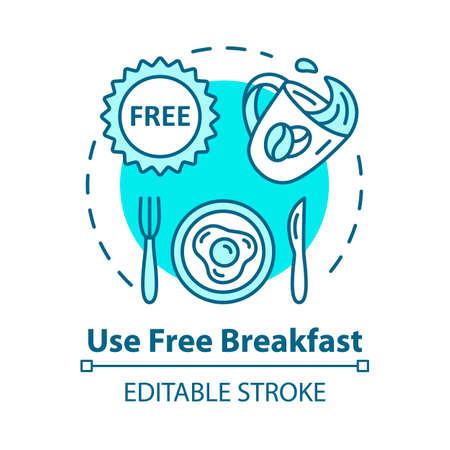 Use free breakfast concept icon. Budget travel, cost effective nutrition idea thin line illustration. Morning meal on the house. Vector isolated outline RGB color drawing. Editable stroke