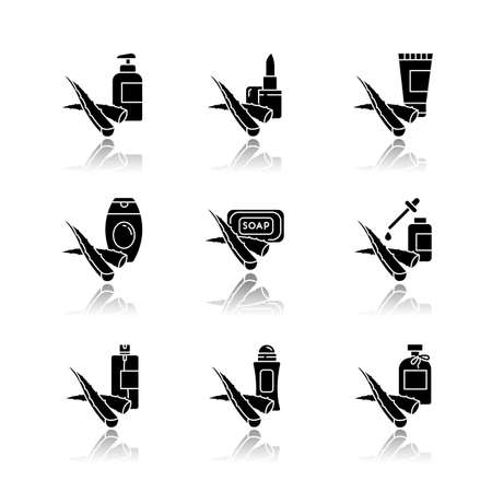 Aloe vera drop shadow black glyph icons set. Cosmetic products with medicinal plant. Natural cream, organic lotion. Deodorant, lip balm. Essence, serum. Isolated vector illustrations on white space Ilustrace