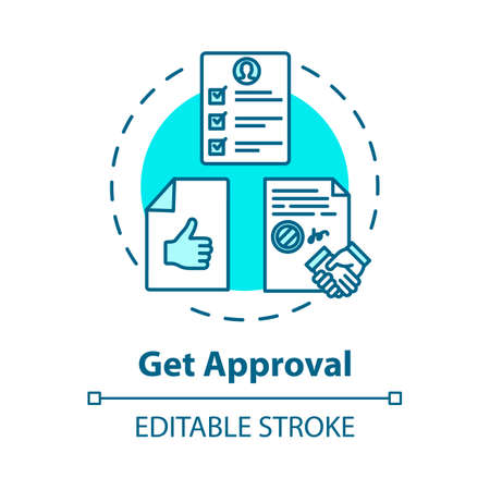 Get approval concept icon. Credit report. Official confirmation. Corporate document. Seal deal idea thin line illustration. Vector isolated outline RGB color drawing. Editable stroke
