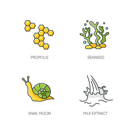 Cosmetic ingredient RGB color icons set. Propolis, honey comb. Seaweed underwater. Snail mucin. Milk extract. Cosmetology, dermatology. Natural component. Korean beauty. Isolated vector illustrations