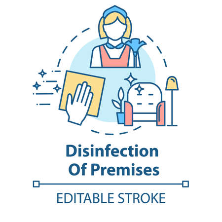 Disinfection of premises concept icon. Sanitation at home. Cleaning service. Hand wiping furniture. Housework idea thin line illustration. Vector isolated outline RGB color drawing. Editable stroke