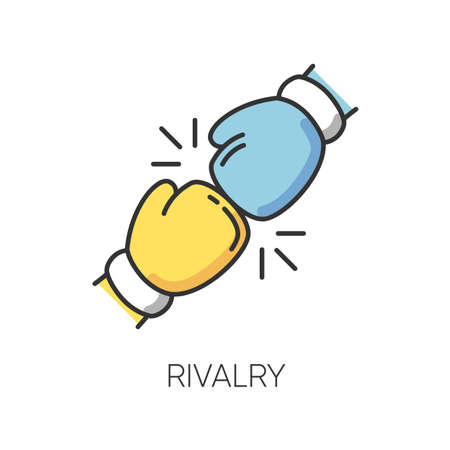Rivalry RGB color icon. Friendly contest, competitive interpersonal relationship symbol. Rivals confrontation, conflict, opponents clash. Boxing gloves isolated vector illustration