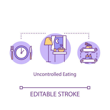 Uncontrolled eating concept icon. Mindless eating, overeating idea thin line illustration. Late night snacks, junk food consumption. Vector isolated outline RGB color drawing. Editable stroke