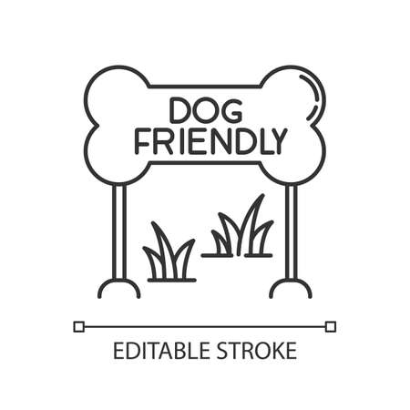 Dog friendly zone pixel perfect linear icon. Puppy allowed park and square, permitted territory. Thin line customizable illustration. Contour symbol. Vector isolated outline drawing. Editable stroke