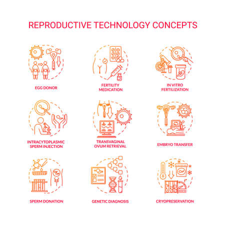 Reproductive technology red concept icons set. In vitro fertilization. Sperm donor, cell donation. Alternative pregnancy idea thin line RGB color illustrations. Vector isolated outline drawings