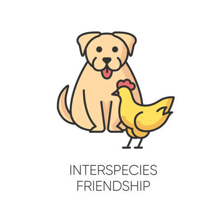 Interspecies friendship RGB color icon. Emotional bond between domestic animals, friendly relationship and togetherness symbol. Dog and chicken getting along isolated vector illustration