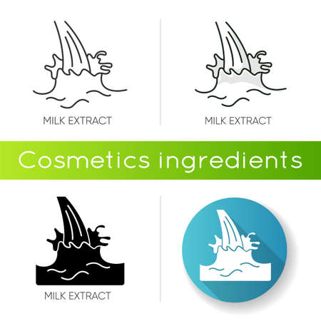 Milk extract icon. Protein source. Natural skincare. Organic treatment component. Beauty lotion. Antiaging cream. Korean beauty. Linear black and RGB color styles. Isolated vector illustrations 向量圖像