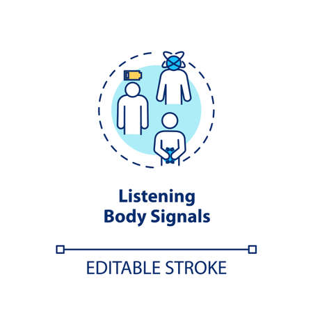 Listen body signal concept icon. Mindful nutrition idea thin line illustration. Eating when hungry, growling stomach and low energy. Vector isolated outline RGB color drawing. Editable stroke