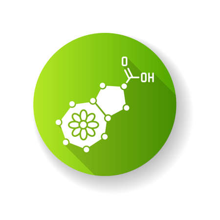 Azulene green flat design long shadow glyph icon. Scientific compound. Chemical skincare formula. Blue pigment. Molecular structure. Atomic chain. Silhouette RGB color illustration  イラスト・ベクター素材