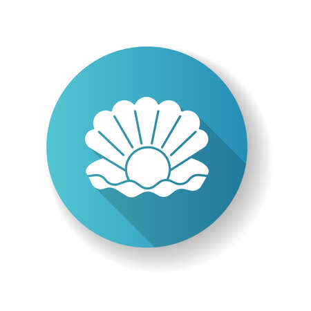 Pearl blue flat design long shadow glyph icon. Open seashell. Brightening effect. Component to prevent aging. Expensive oyster. Ocean scallop. Luxury product. Silhouette RGB color illustration