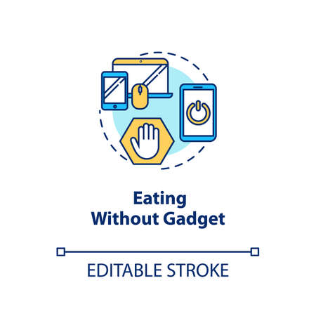 Eating without gadget concept icon. Conscious nutrition idea thin line illustration. Attentive food consumption. Meal without distractions. Vector isolated outline RGB color drawing. Editable stroke Çizim