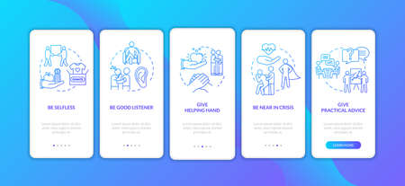 Being supportive friend onboarding mobile app page screen with concepts. Give moral support and helpful advice walkthrough 5 steps graphic instructions. UI vector template with RGB color illustrations
