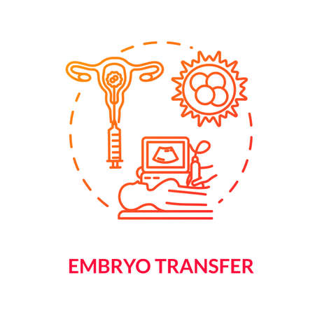 Embryo transfer red concept icon. Hormon therapy. Pregnancy aid. Infertility treatment. Reproductive technology idea thin line illustration. Vector isolated outline RGB color drawing