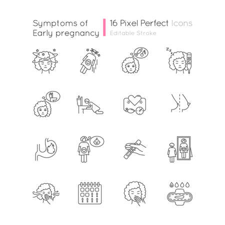 Early pregnancy symptom pixel perfect linear icons set. Family planning. Maternity and motherhood. Customizable thin line contour symbols. Isolated vector outline illustrations. Editable stroke