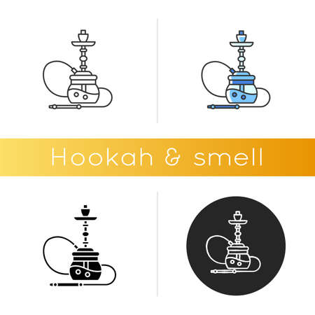 Hookah icon. Sheesha house. Egyptian relaxation. Nargile lounge. Smoking area. Accessories for shisha. Oriental hooka. Linear black and RGB color styles. Isolated vector illustrations