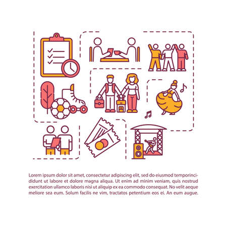 Friends activities icon with text. Couple leisure and hobby. Mates active recreation together PPT page vector template. Brochure, magazine, booklet design element with linear illustrations Ilustração