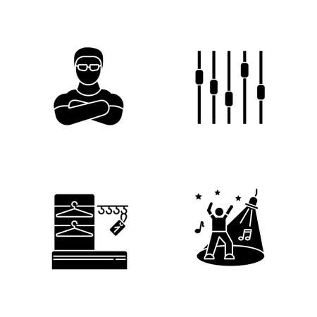 Nightclub black glyph icons set on white space. Face control, late night party, night club discotheque silhouette symbols. Bouncer, wardrobe, dance floor and equalizer vector isolated illustrations Stock Illustratie