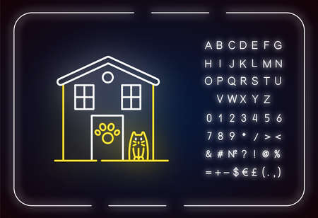 Animal shelter exterior sign neon light icon. Stray cats and dogs house, animals care place. Outer glowing effect. Sign with alphabet, numbers and symbols. Vector isolated RGB color illustration