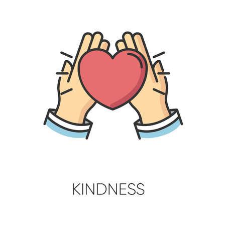 Kindness RGB color icon. Emotional affection, friendly love and support, friendship symbol. Voluntary help, charity, welface concern. Hands holding heart isolated vector illustration