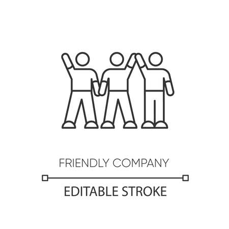 Friendly company pixel perfect linear icon. Thin line customizable illustration. Friendship, social communication, fellowship contour symbol. Vector isolated outline drawing. Editable stroke