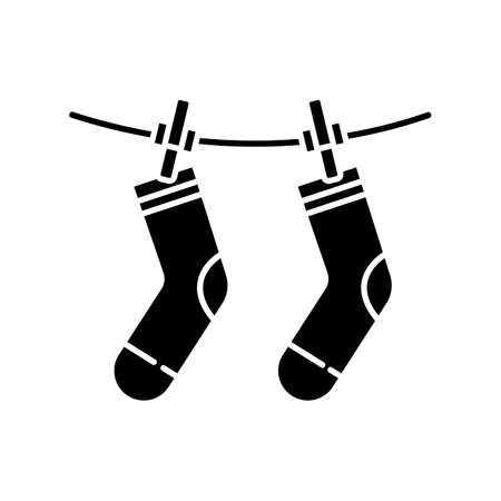 Outside drying black glyph icon. Laundry, clothesline, outdoors clothes drying. Socks hanging on clothesline, washed garment. Silhouette symbol on white space. Vector isolated illustration