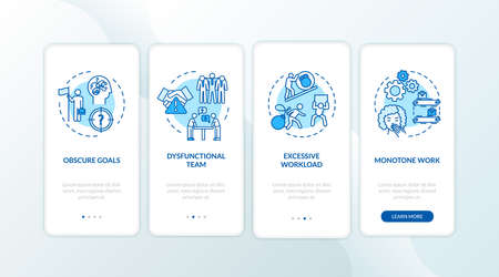 Burnout onboarding mobile app page screen with concepts. Argument with coworkers. Work stress walkthrough 4 steps graphic instructions. UI vector template with RGB color illustrations Foto de archivo - 142198384