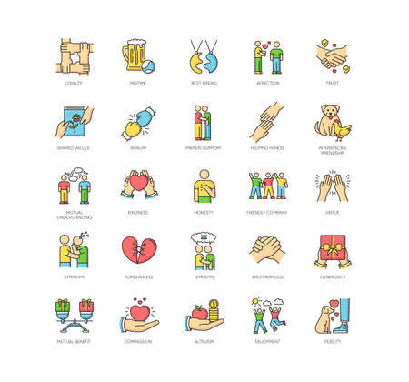 Friendly relationship RGB color icons set. Strong friendship and togetherness. Interpersonal communication, emotional bond symbols. Best friends, buddies isolated vector illustrations