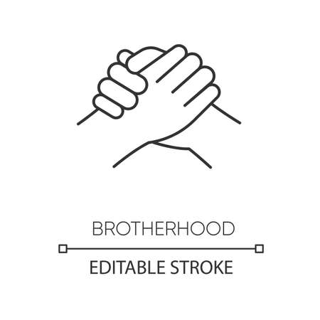Brotherhood pixel perfect linear icon. Thin line customizable illustration. Strong friendship, interpersonal bond, Togetherness contour symbol. Vector isolated outline drawing. Editable stroke Ilustração