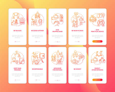 Friends support onboarding mobile app page screen with concepts set. Friendship and love relation tip walkthrough 5 steps graphic instructions. UI vector template with RGB color illustrations