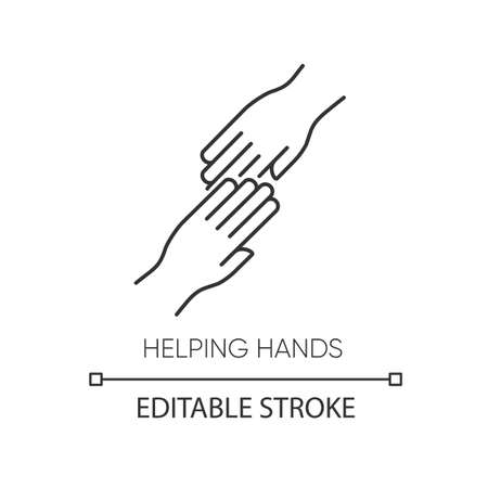 Helping hand pixel perfect linear icon. Thin line customizable illustration. Friendly support, friends assistance. Friendship, virtue contour symbol. Vector isolated outline drawing. Editable stroke