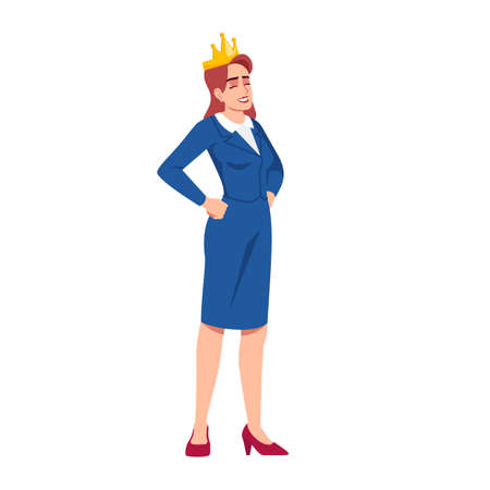 Successful businesswoman semi flat RGB color vector illustration. Female employee in golden crown isolated cartoon character on white background. Professional achievements satisfaction
