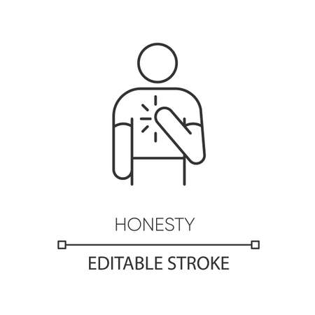 Honesty pixel perfect linear icon. Thin line customizable illustration. Truthfulness, sincerity and credence contour symbol. Trustworthy person. Vector isolated outline drawing. Editable stroke